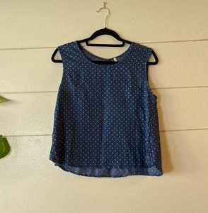 Chambray Polka Dot Blouse